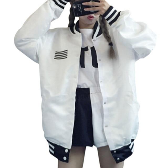 2017 New autumn women jacket Korean loose BF Harajuku men women long sleeve single breated jacket coat two color drop ship