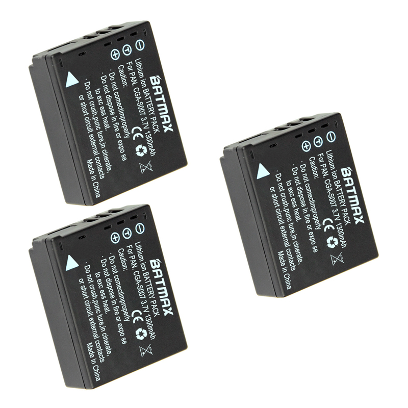 3Pcs1300mAh CGA-S007 CGA CGR S007E S007 S007A BCD10 Batteries for Panasonic DMC TZ1 TZ2 TZ3 TZ4 TZ5 TZ50 TZ15 Camera Batteries
