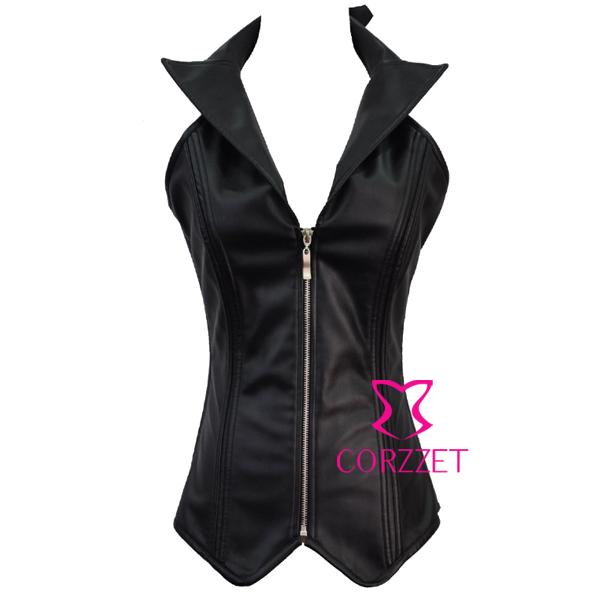 Women Black Faux Leather Zipper Front Lace Up Back Halter Neck Overbust Gothic   Bustiers   &   Corsets   Waist Body Shaper With Collar
