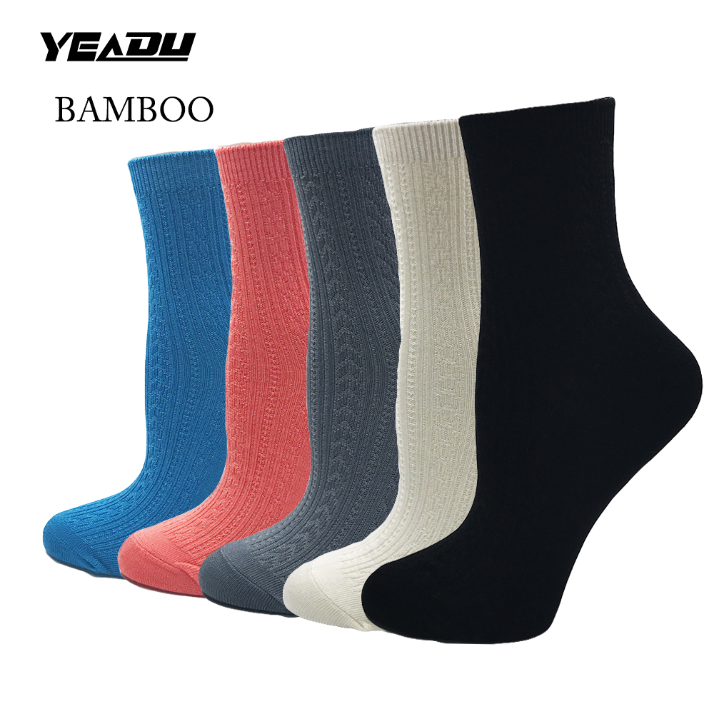 New Bamboo Fiber Solid Women's Short Socks Comfortable Good Quality Girl Best Gift (5 Pairs / Lot )