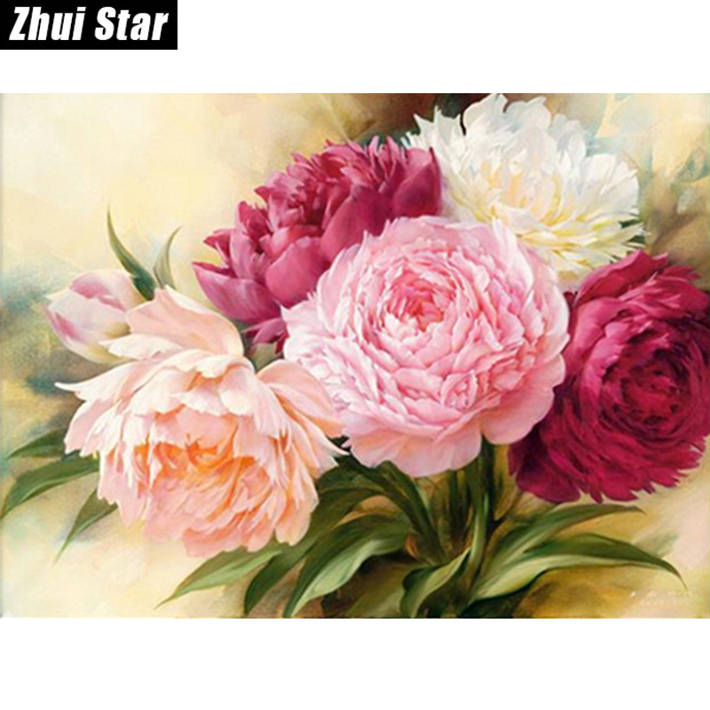 "Full Square Diamond 5D DIY Diamantmålning ""Peony Flowers"" Broderi Cross Stitch Rhinestone Mosaic Painting Heminredning"