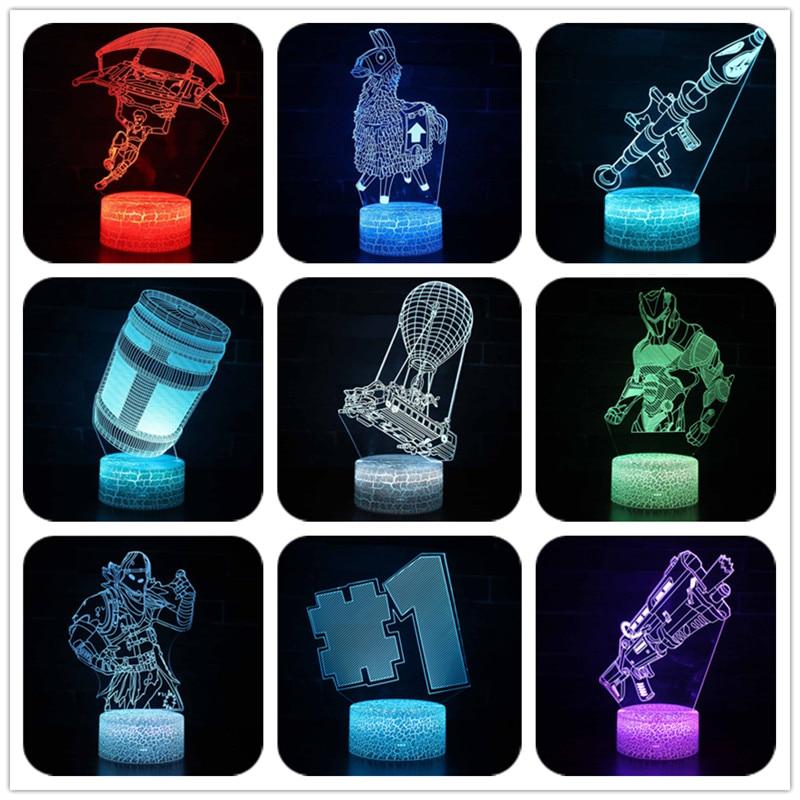 7 colores Fortnited batalla figura de acción de cambio de lámpara de mesa USB Led Luz de escritorio dos semanas de cicatriz modelo Juguetes