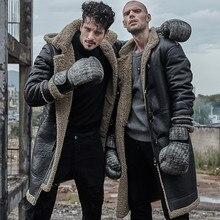 ผู้ชายหนังหนังแท้ขนสัตว์ยาว man ecological sheepskin coat hood shearling ฤดูหนาวหนา parka