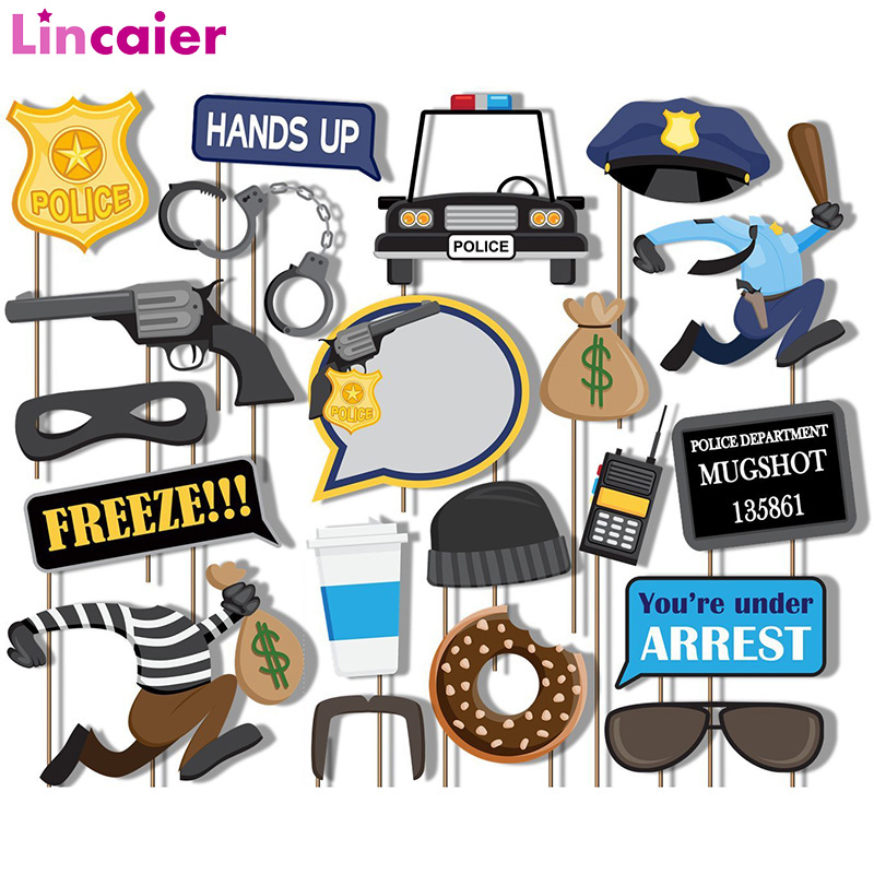 21pcs Galore Cops and Robbers Police Photobooth Props Happy Birthday Boy Girl First 1st Party Decoration Adult21pcs Galore Cops and Robbers Police Photobooth Props Happy Birthday Boy Girl First 1st Party Decoration Adult