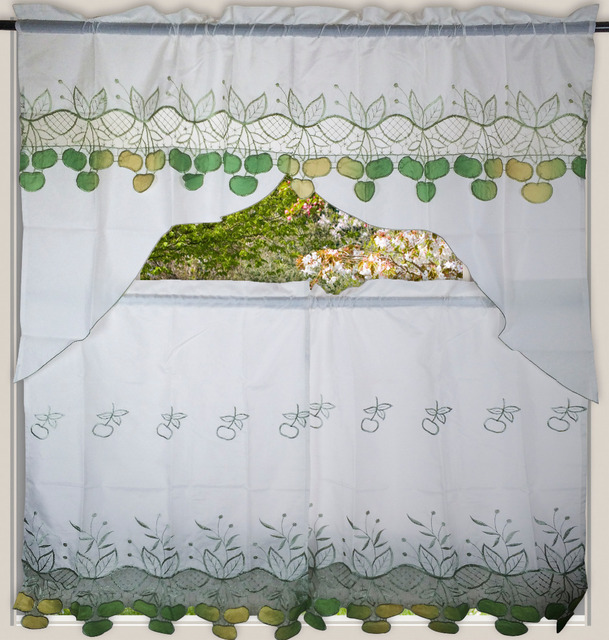 Magnificent Europe Style Window Treatments Apple Embroidery Set Curtains Valance Curtains For Kitchen Living Room Bedroom Cafe Download Free Architecture Designs Scobabritishbridgeorg