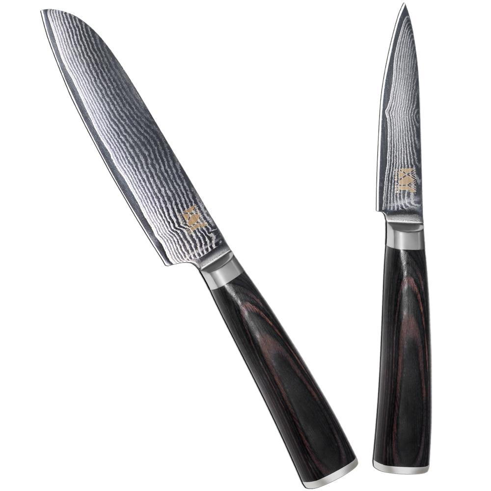 VG10 Damascus Steel Knife 3.5 Inch Paring 5 Inch Santoku Knife New Double Steel Head Wooden Handle Japanese Kitchen Knives <font><b>Set</b></font>