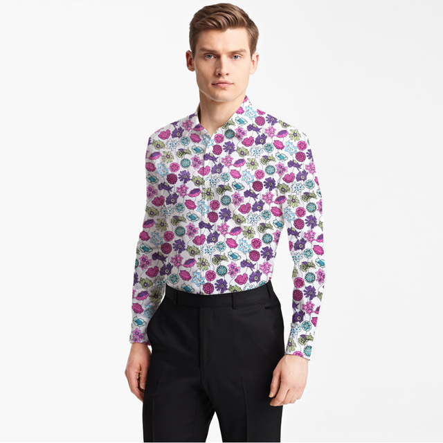 ddafb77b5f5 Hawaiian Shirt Cotton With Printed Small Rose Pattern Man s Fashion Designer  Brand Shirt Tailor Made Bespoke Mtm Male Blouse