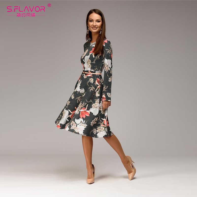 S. FLAVOR Новый стиль весенне-летняя с цветочным принтом платье с О-образным вырезом Длинные рукава Винтаж женский по колено вечерние платье без пояса