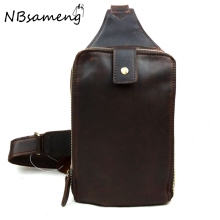 2016 New Vintage 100% Genuine Cowhide Leather Mens Chest Bag Traveling Bicycling High Quality Messenger Bags smb414