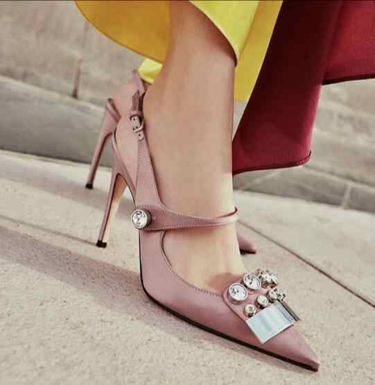 c3e3091c25 Crystal Bling Sandals Punk Slingbacks Silk Women Pumps Designer Rhinestone  High Heels Shoes Woman Pointed Sandalias Mujer 2018