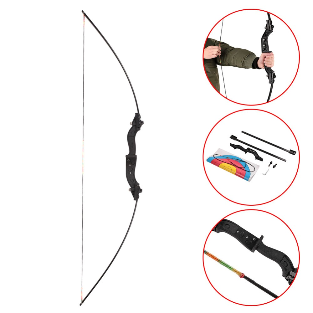 "Forfar 1set 10/25/40lbs Recurve Bow Stainless Steel 56"" Straight Hunting Bow Tranditional Long Bow for Hunting Shooting Practice"