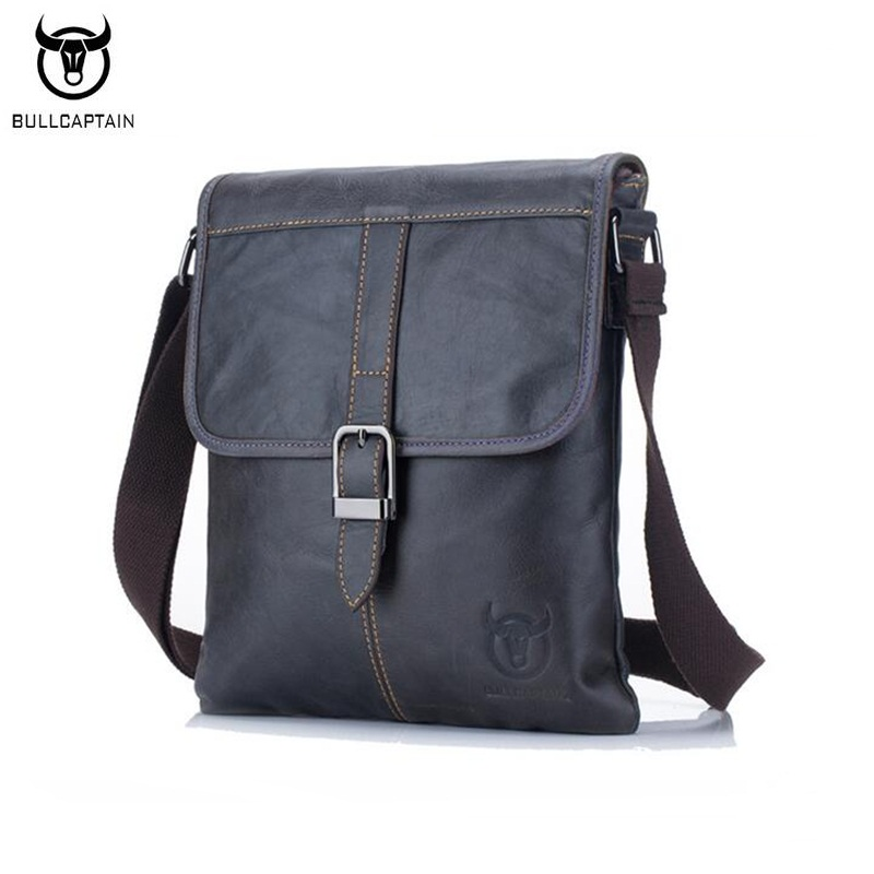 7c1250dfb9 BULLCAPTAIN Vintage Fashion Men Messenger Bag 100% Genuine Leather Men  Shoulder Crossbody Bag Brand Design Man Bag Brown on Aliexpress.com
