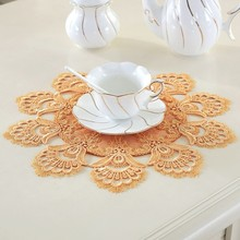 Round 36cm European Coaster Water Soluble Lace Fabric Coffee Tea Cup Table Mat Insulation Modern Minimalist Western Food Pad