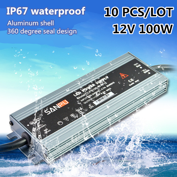 DHL 10 PCS LED led Driver IP67 AC100V-240V DC12V transformer 100W 8.33A ultra-thin waterproof Constant voltage power supply