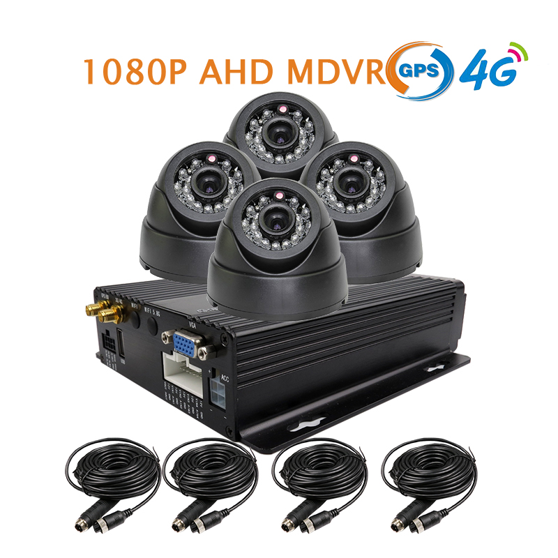 Free Shipping NEW 4 Channel GPS 4G 1080P AHD SD Car DVR MDVR Video Recorder Realtime Monitor InCar Dome Camera for Truck Van Bus 4 channel 256g sd car vehicle dvr mdvr video recorder kit cctv rear view camera dome camera for truck van bus free shipping