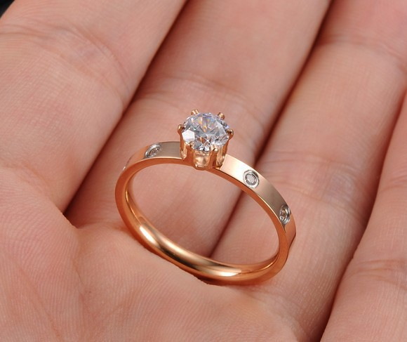 1 Carat And 4 Small Zirconia Crystal Vintage Engagement Ring Sets For Women Men Gold Love Wedding Aneis Brand Jewelry 2017 In Rings From