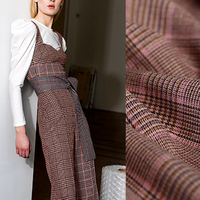 149CM Wide 340G/M Weight Check Print Pink Brown Wool Polyester Golden Thread Fabric for Autumn Spring Dress Jacket E913