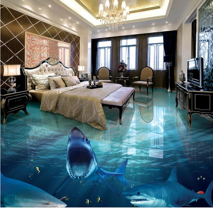 Online get cheap shark floor alibaba group for Bathroom 3d wallpaper