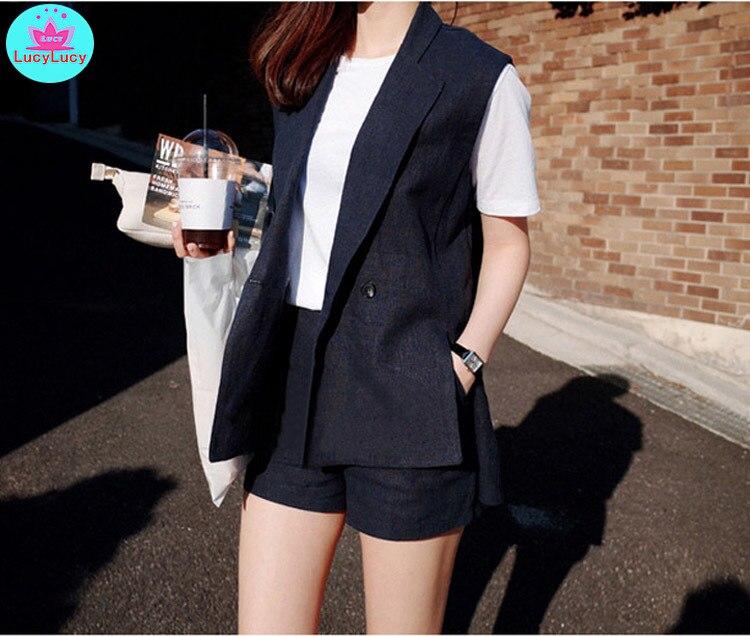 2019 Korean Version Of Cotton And Linen Vest Women's Suit Shorts Suit Casual 2 Sets Of Thin Women's Clothing Office Lady