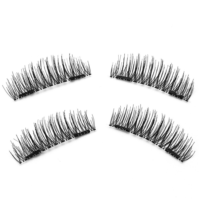 1 Pair Natural Long 3D False Eyelashes Makeup Handmade Thick Fake Eye Lashes Extension Tools Magnetic False Eyelashes Makeup Kit