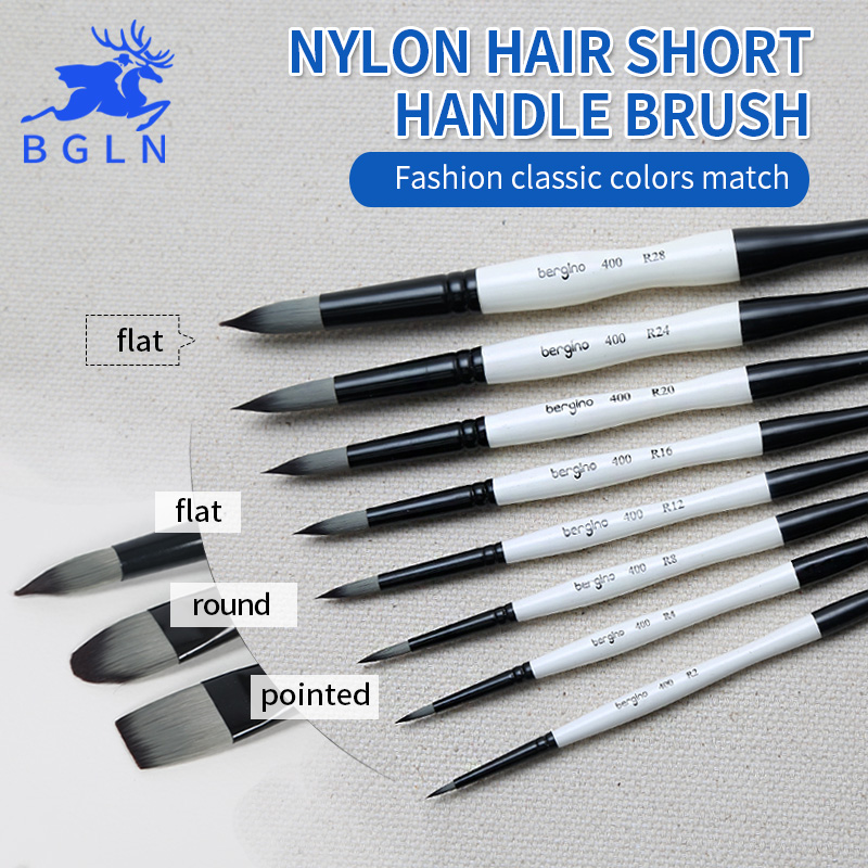 Bgln 1Piece Nylon Hair Professional Watercolor Paint Brush Round Flat Pointed Watercolor Oil Acrylic Painting Brush Art Supplies bgln 7pcs set mix hair nylon weasel hair professional watercolor paint brush watercolor painting brush stationery art supplies