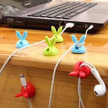 4pcs Cute Rabbit Ears Bunny Charger Wire Cord Organizer Clip Cable Winder Collation Holder Tidy Desk Earphone fixer clamp(China)