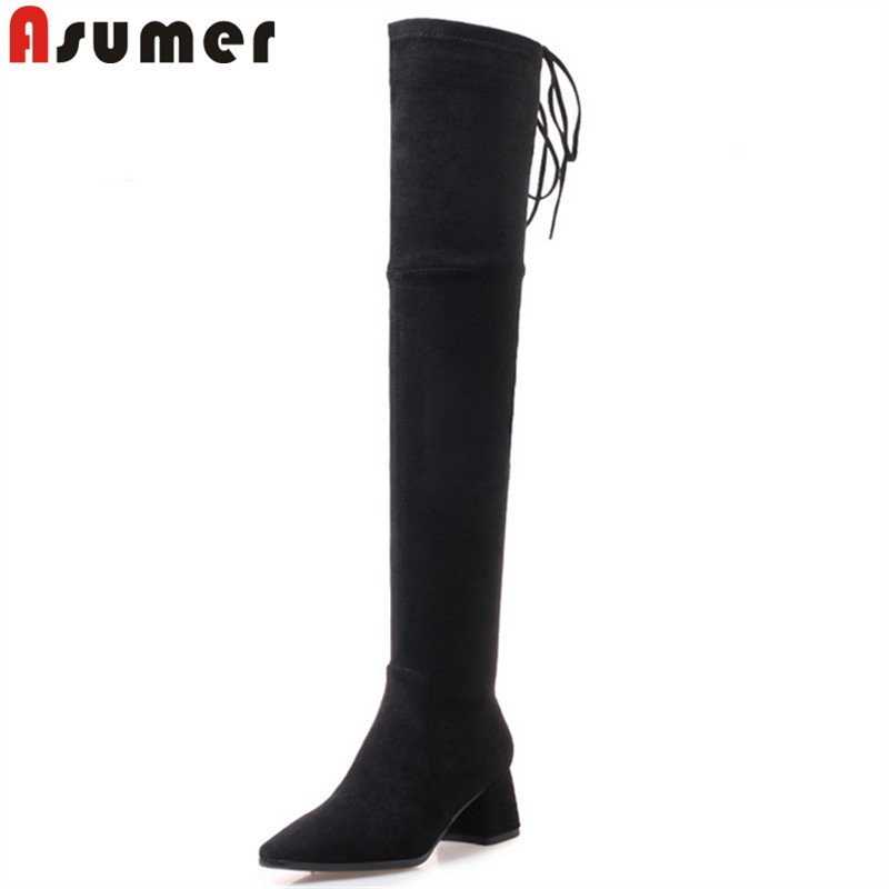 ASUMER fashion thigh high boots women pointed toe zip cross tied ladies over the knee boots high heels faux suede boots black hot boots women sexy black thigh high boots peep toe soft leather back zip high heels over the knee boots gladiator sandal boots