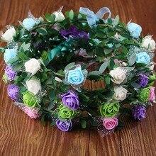 3 PCS Fita Ajustável, Noiva Acessórios Do Cabelo Do Casamento Da Tiara Da Coroa, Rose Grinalda Headband, Guirlanda de Flores Artificiais Para mulheres, Crianças