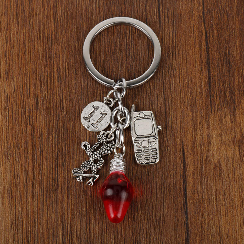 Fashion Birthday Gift Stranger Things Christmas Tree Lights Charms Bulb Shaped With Phone 11 Pendant Keychain Women Men Jewelry