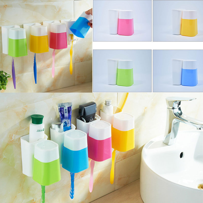 Wall Mount Paste Snap type Gargle Cup Toothbrush Holder Storage Bathroom Suite