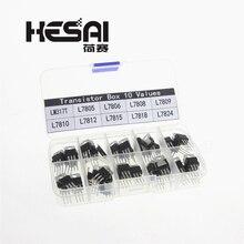 10 стоимость, 50 шт в наборе, LM317T L7805 L7806 L7808 L7809 L7810 L7812 L7815 L7818 L7824 транзисторный набор Напряжение регулятор коробка