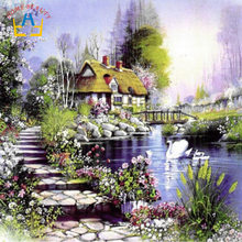 HOME BEAUTY 40x50cm framed picture paint on canvas diy digital oil painting by numbers home decoration craft landscape swan G096(China)