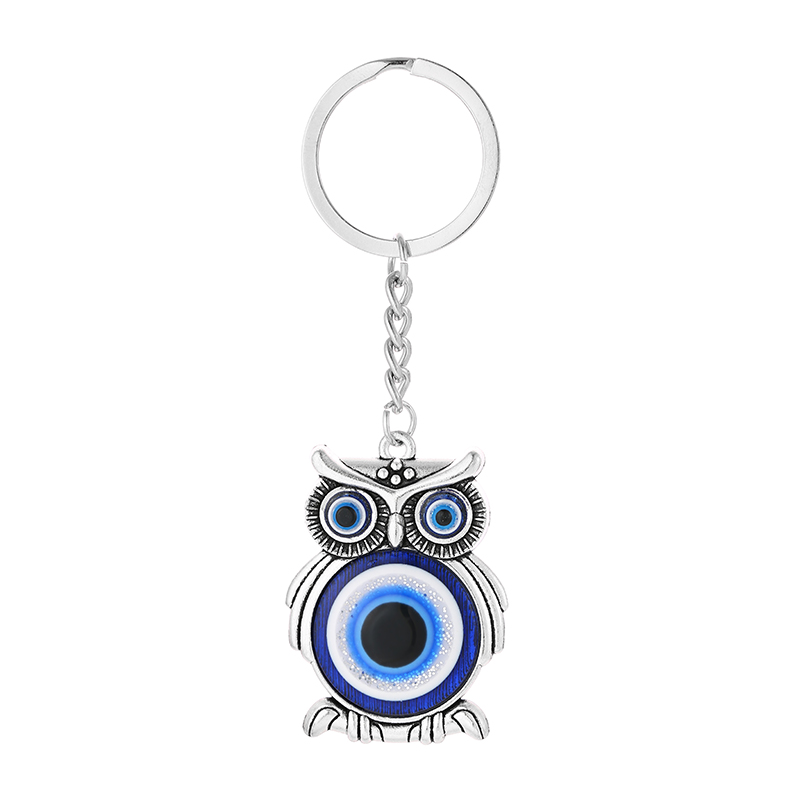 Fooderwerk Jewelry 2019 New Fashion Devil's Eye Palm Owl Pendant Key Chains Zinc Alloy Silver For Men And Women Key Ring