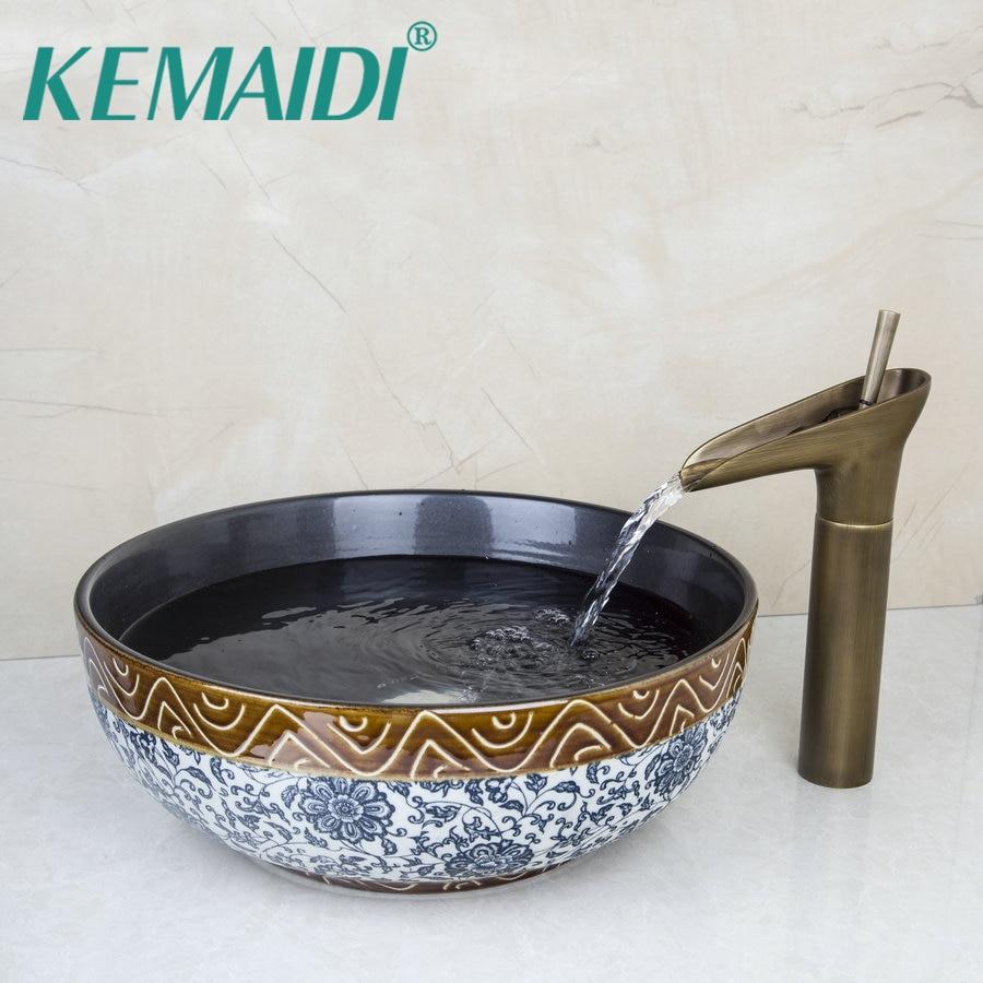 KEMAIDI rétro bleu et blanc porcelaine céramique bol éviers/vasques de navire avec salle de bains en laiton cascade robinet évier ensemble