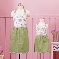 WIT Mama And Me Set Apron Cotton Dining Apron With Pocket Floral Roses Green Purple