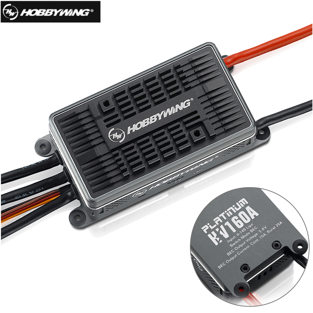 Original Hobbywing Platinum 160A HV V4 6-14S Lipo Brushless ESC for RC Drone Helicopter Aircraft free shipping 2015 new hobbywing platinum series v4 160a brushless electric speed controller esc for aircrafts high voltage esc