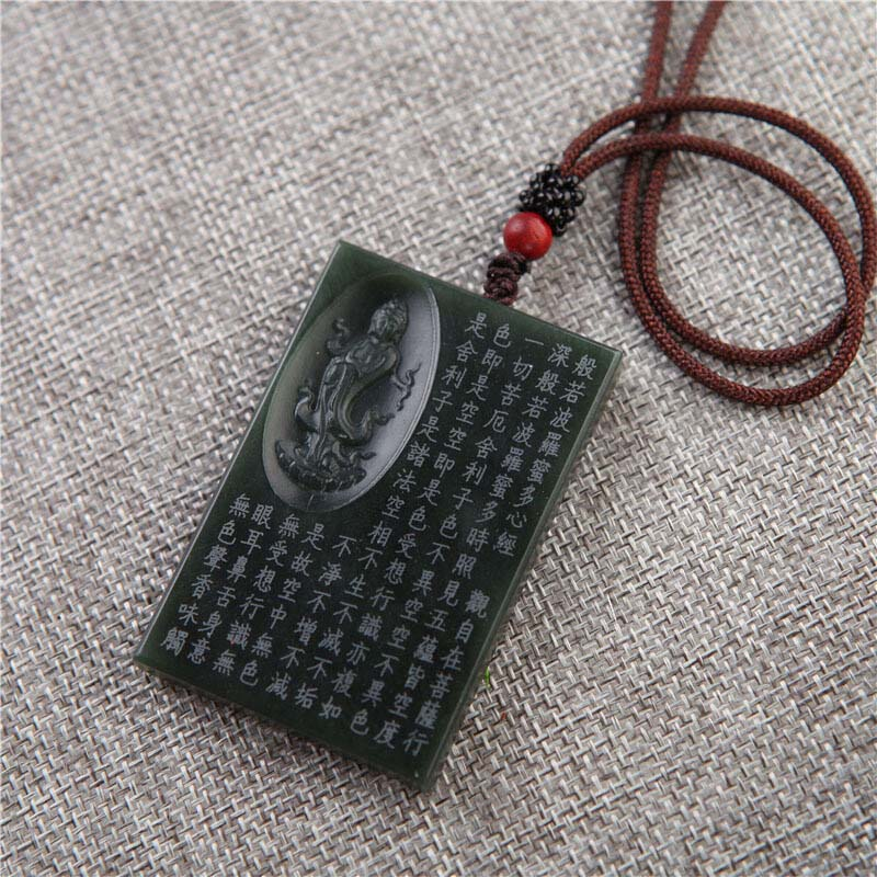 Image 4 - Drop Shipping XinJiang HeTian Jade Pendant Necklace Jade Buddhist Scriptures Lucky Amulet Necklace With Chain For Men Women GiftPendants   -