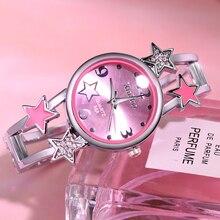 Женские часы звезда Новинка браслет из нержавеющей стали браслет горный хрусталь часы Mujer Роскошные вечерние женские платья Relogio Feminino