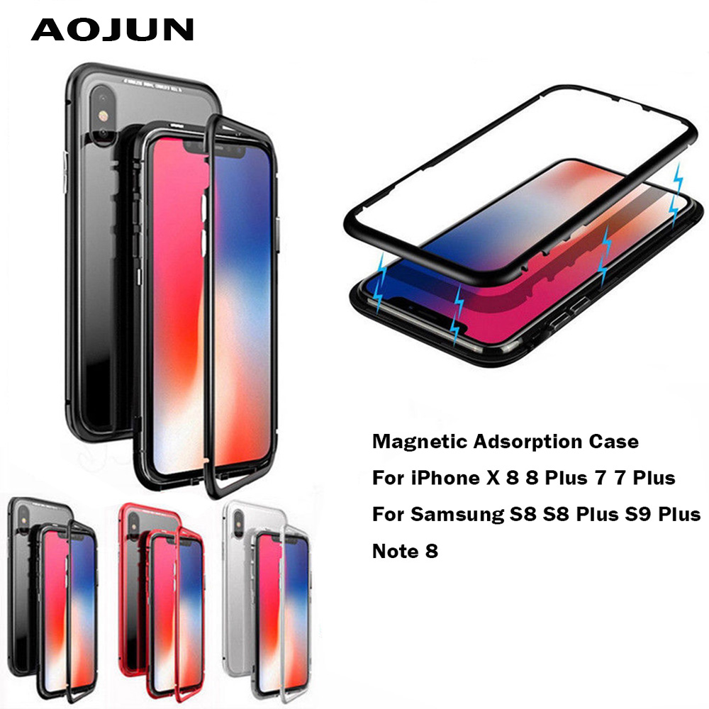 Aojun Magnetic Adsorption Metal Case For Samsung Galaxy S8 Plus Note 8 S9 S9 Plus Tempered Glass Cover For iPhone X 8 8 Plus