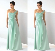 2015 New Column One Shoulder Floor Length Bridesmaid Dresses With Ruffles Prom Formal Dress Vestido De