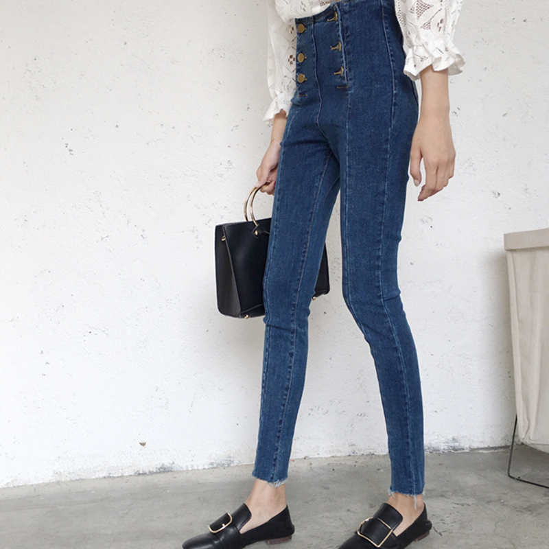 20642e0942ca PAROLLADA Ladies Double Breasted Button Jeans Vintage High Waisted Skinny  Jeans Denim Pants-in Pants   Capris from Women s Clothing on Aliexpress.com  ...