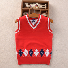 2017 Autumn Baby Boys Sweaters Vest Cotton Pullover Kids Girls Knitted Sweater for 2-7Y Girls Cardigan Children casual clothes