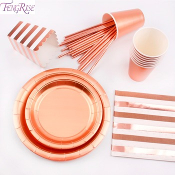 FENGRISE Rose Gold Disposable Tableware Sets Champagne Party Cup Plate Party Tableware for Wedding Decor Birthday Party Supplies