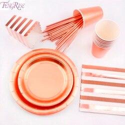 Fengrise ouro rosa conjuntos de utensílios de mesa descartáveis champanhe festa copo placa festa utensílios de mesa para a decoração do casamento festa de aniversário suprimentos
