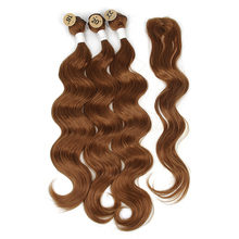 Объемные волнистые волосы для наращивания, черный, коричневый цвет, 18, 20, 22 дюйма, волнистые пряди, тиссаж, синтетические пряди, с закрытием, волнистые пряди для волос