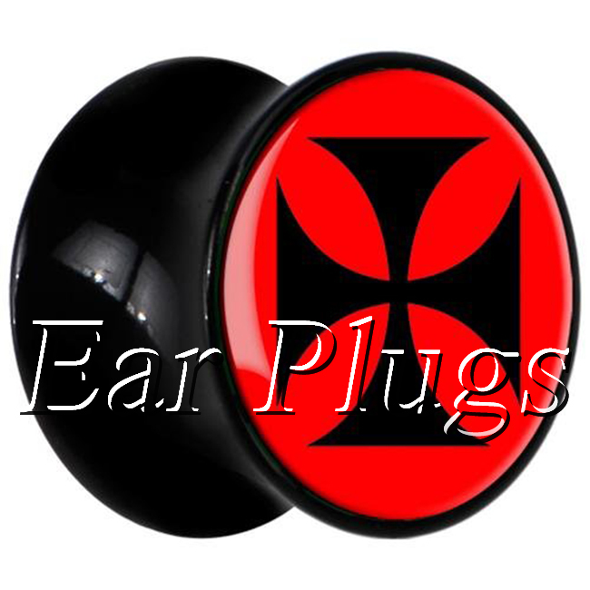 1 pair plugs acrylic piercing red cross saddle ear plug gauges tunnel body piercing jewelry PSP0009
