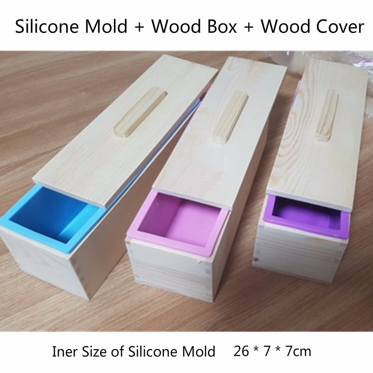 1200g Rectangular Silicone Soap Mold With Wood Cover Handmade Soap Kits 26*7*7cm DIY Toast Mould