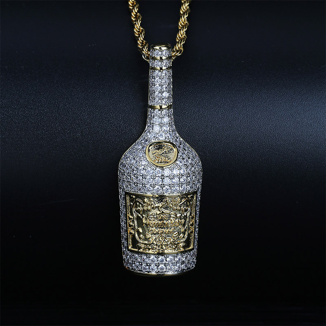 Champagne Bottle Pendant Necklace Mens Charms Jewelry With Tennis Chain Gold Silver Color Chains Necklace Hip Hop Jewelry Gift