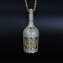 Champagner Flasche Anhänger Halskette Mens Charms Schmuck Mit Tennis Kette Gold Silber Farbe Ketten Halskette Hip Hop Schmuck Geschenk