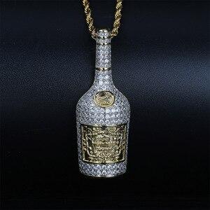 Image 1 - Collier avec pendentif bouteille de Champagne pour hommes, avec chaîne de Tennis, chaîne couleur or argent, style Hip Hop, idée cadeau, bijoux, collection bijoux à breloques